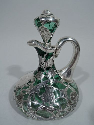 Antique Green-Shading-to-Clear Glass Silver Overlay Whiskey Decanter