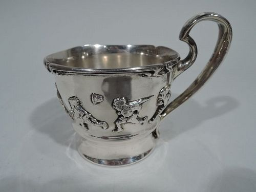 Antique Gorham Edwardian Sterling Silver Allegorical Baby Cup