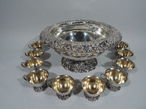 Main Line Magnificent Sterling Silver Punch Bowl & Cups by JE Caldwell