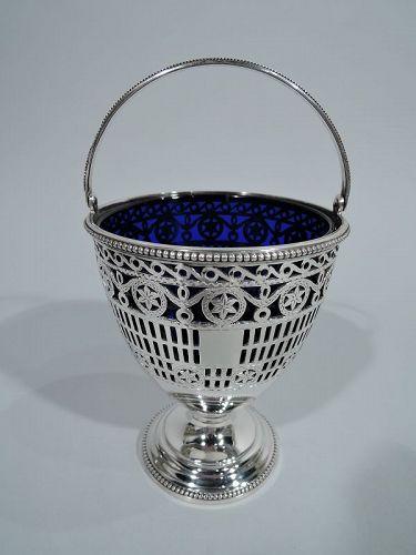English Edwardian Georgian Pierced Sterling Silver Sugar Basket