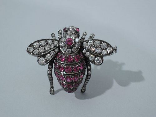 Ruby and Diamond Bee Brooch by Sabbadini of Milan