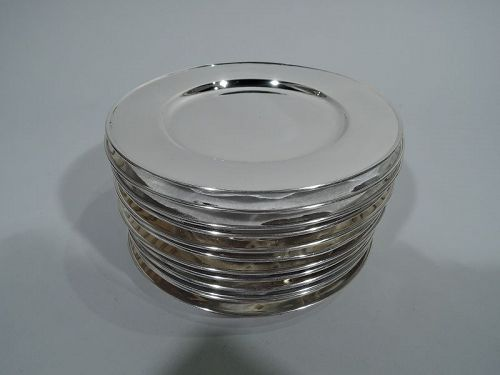 Set of 12 Sterling Silver Footed Bread & Butter Plates by Tiffany