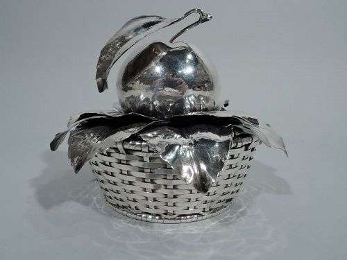 Charming Buccellati Sterling Silver Fruit Basket with Apple Finial
