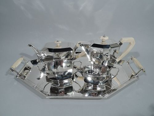 English Art Deco Sterling Silver Skyscraper Coffee and Tea Set on Tray