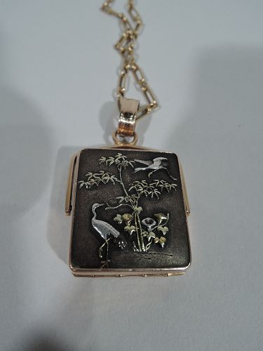 Antique Japanese Shakudo and Rose Gold Crane and Lily Locket on Chain