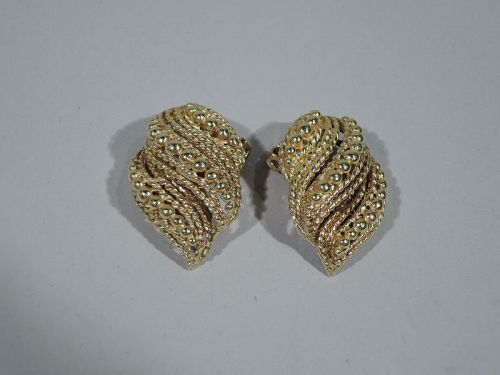 Pair of Snazzy 1960s American Modern 14K Gold Clip-On Earrings