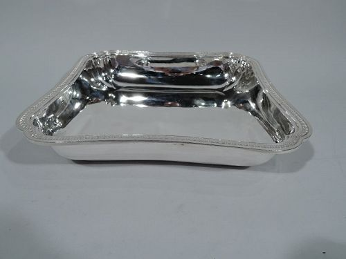 Antique French Belle Epqoue Classical Silver Square Serving Bowl