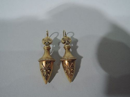 Pair of Antique English Etruscan Revival 15K Gold Drop Urn Earrings
