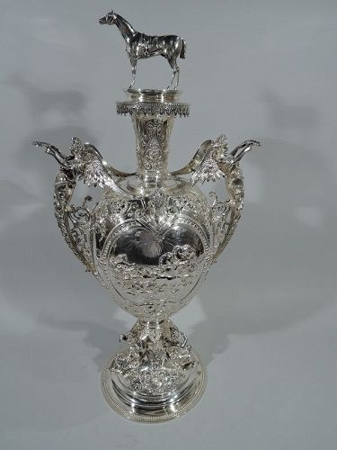 Antique English Victorian Sterling Silver Horse Trophy Cup 1883