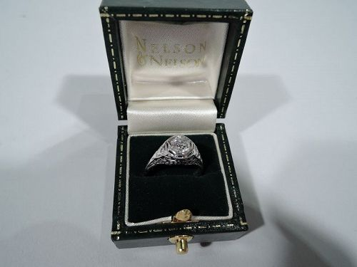 Antique American Edwardian Platinum and Diamond Solitaire Ring