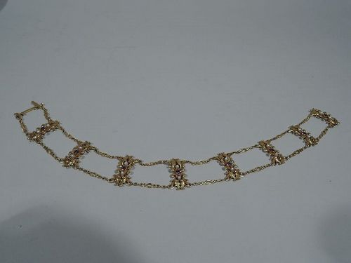 American Art Nouveau 14k Gold Choker with Amethysts and Pearls