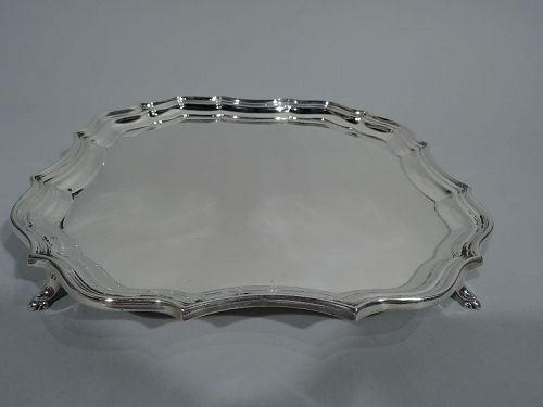 Antique English Sterling Silver Ogee Piecrust Salver Tray 1919