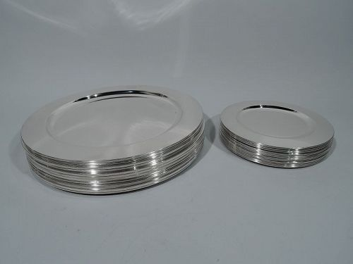 Set of 24 Modern Sterling Silver Dinner and Bread-and-Butter Plates