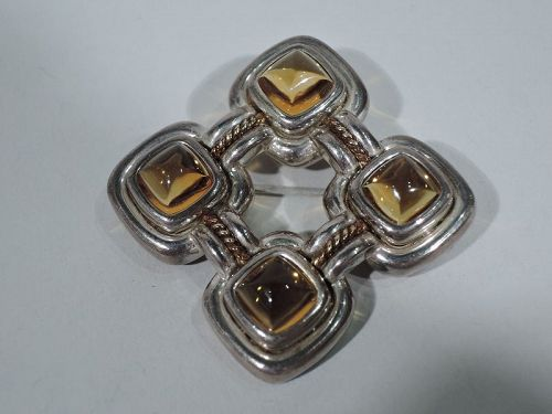 Contemporary American Nautical Knotwork Citrine Brooch by Tiffany
