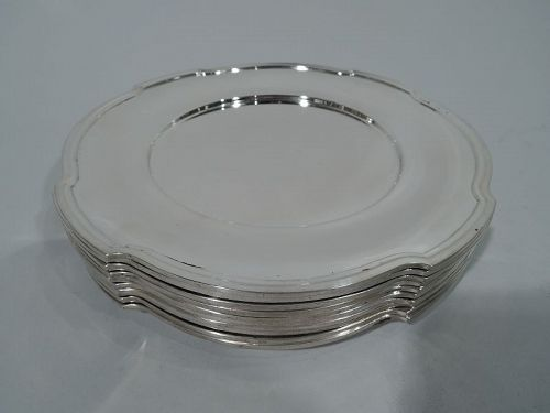 Set of 10 American Art Deco Sterling Silver Appetizer Plates