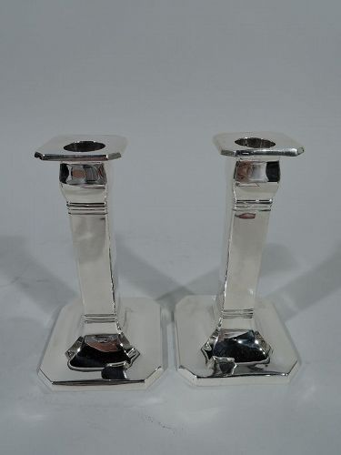 Tiffany Art Deco Sterling Silver Pillar Candlesticks with Shades