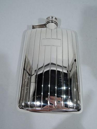 American Art Deco Modern Sterling Silver Flask by International