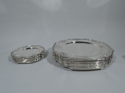Set of 24 Tiffany Sterling Silver Dinner and Bread & Butter Plates