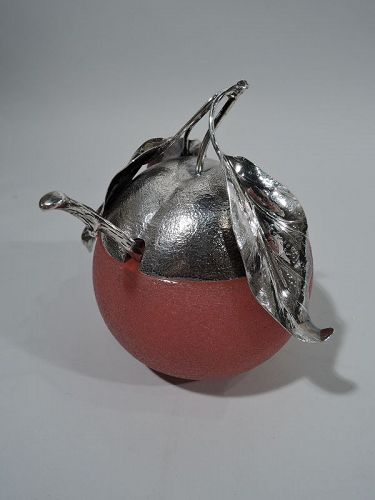 Buccellati Sterling Silver & Murano Glass Apple Jam Jar with Spoon
