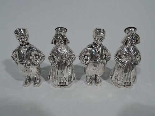 Two Pairs of German Country Children Salt & Pepper Shakers