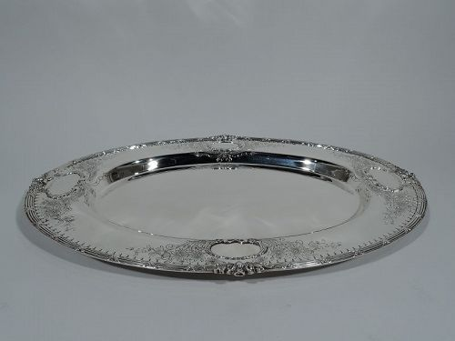 Pretty Antique American Edwardian Sterling Silver Serving Tray