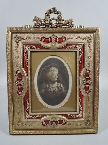 Antique French Rococo Revival Gilt Bronze & Red Enamel Picture Frame