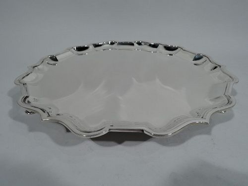 Antique English Sterling Silver Georgian Piecrust Salver Tray