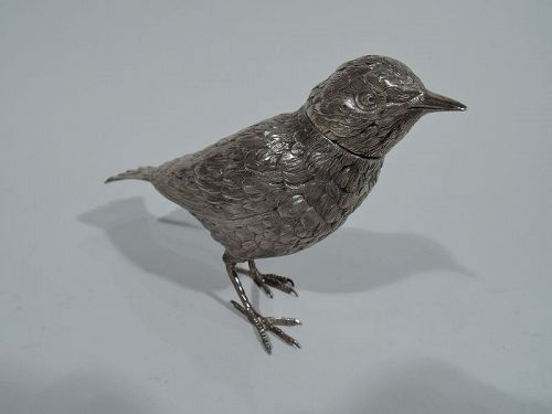 Sweet and Small Antique Dutch Silver Bird Spice Box