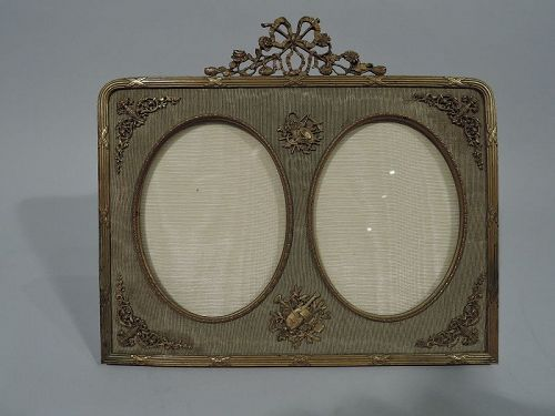 Antique French Rococo Gilt Bronze Double Picture Frame