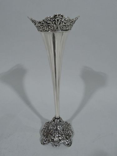 Antique American Pierced Sterling Silver Bud Vase by Whiting