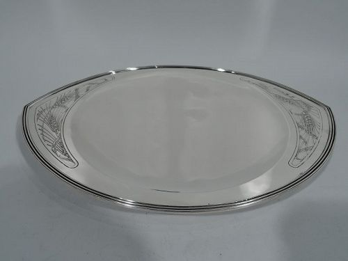 Tiffany Art Deco Modern Sterling Silver Crunchy Whole Grain Bread Tray