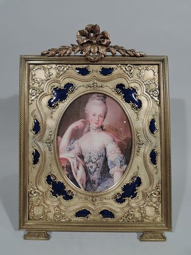 Antique French Rococo Revival Gilt Bronze & Blue Enamel Picture Frame