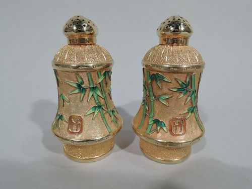 Pair of Chinese Silver Gilt and Enamel Bamboo Salt & Pepper Shakers