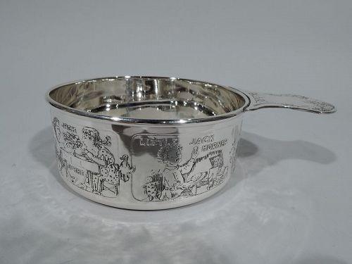 Antique Kerr Edwardian Sterling Silver Nursery Rhyme Porringer
