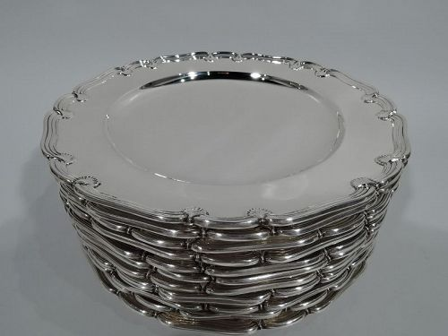 Set of 12 Tiffany Sterling Silver Scroll-and-Shell Appetizer Plates