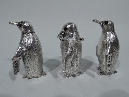 Classic Waddling Penguin English Sterling Silver Condiment Set