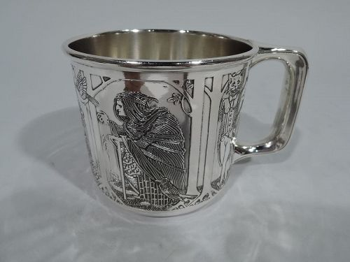 American Art Nouveau Sterling Silver Fairy Tale Baby Cup by Kerr