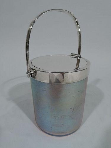 Beautiful Tiffany Sterling Silver & Favrile Glass Jam Pot