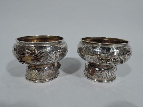 Pair of Tiffany Hand Hammered & Mixed Metal Marine Open Salts