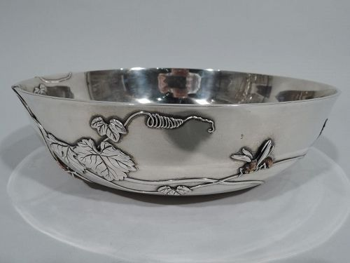 Tiffany Japonesque Mixed Metal and Sterling Silver Bowl with Dragonfly