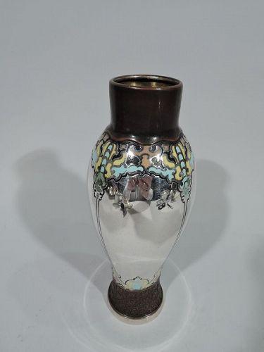 Experimental Tiffany Art Nouveau Mixed Metal and Enamel Vase