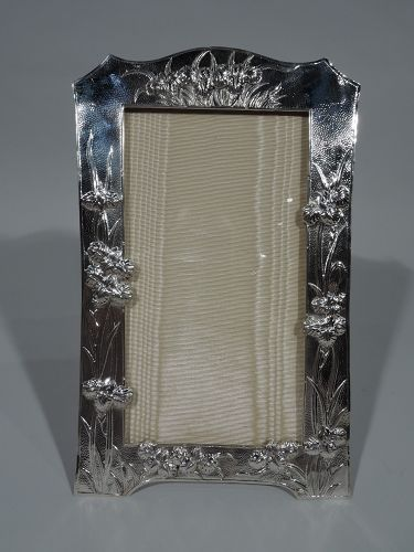 Antique Chinese Silver Iris Flower Picture Frame by Wang Hing