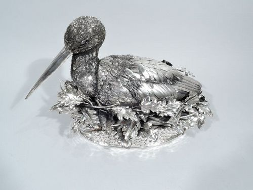 Fabulous Quality Mario Buccellati Silver Nesting Bird Figure in Basket