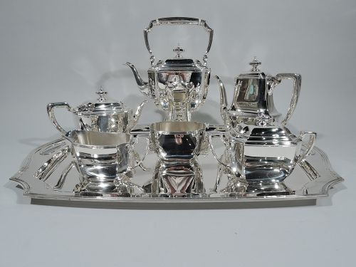 Art Deco Tiffany Hampton Sterling Silver Coffee & Tea Set on Tray