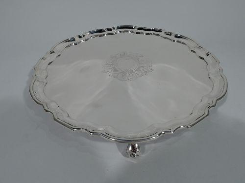 Tiffany Sterling Silver Salver Tray with Georgian Piecrust Rim