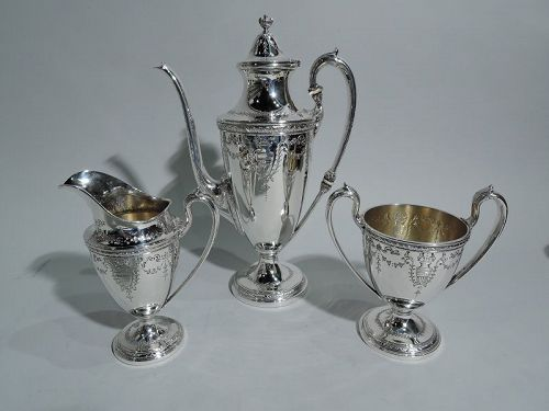 Heavy Antique American Sterling Silver 3-Piece Coffee Set by Whiting