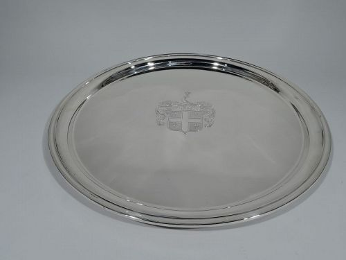 Very Large and Heavy American Sterling Silver Armorial Tray