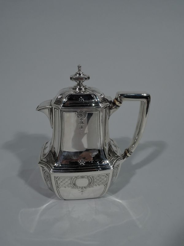 Tiffany Engraved Hampton Sterling Silver Coffee and Tea Set on Tray