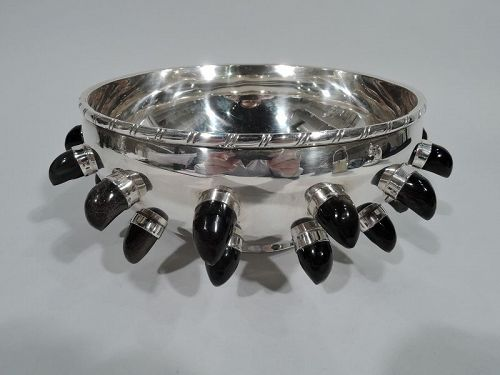 Mexican Midcentury Modern Sterling Silver and Obsidian Bowl