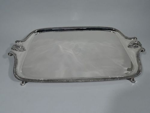 Large and Smart English Classical Sterling Silver Footed Tray 1898
